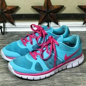 Nike Shoes - Nike kids pink/blue tennis shoes size 4.5